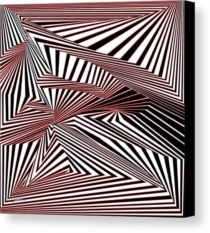 Dynamic Black And White And Red Canvas Print featuring the digital art Rood Der by Douglas Christian Larsen