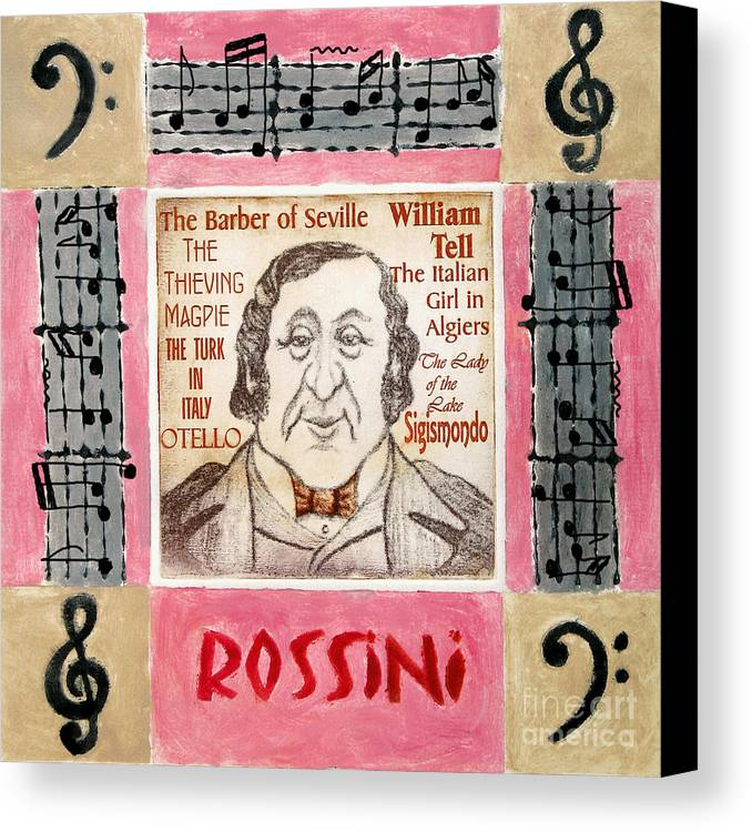 Rossini Canvas Print featuring the mixed media Rossini Portrait by Paul Helm
