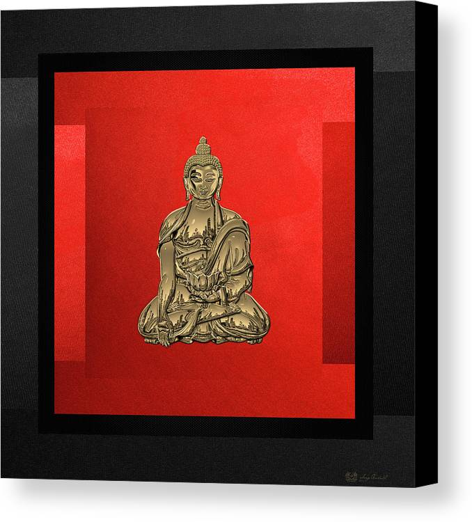'sacred Symbols' Collection By Serge Averbukh Canvas Print featuring the digital art Sacred Symbols - Gold Buddha On Black And Red by Serge Averbukh