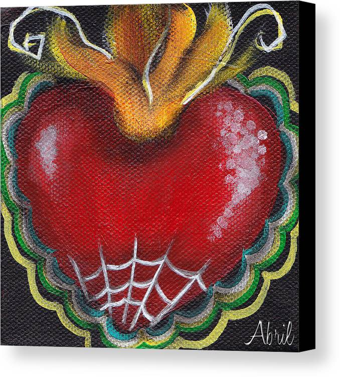 Sacred Heart Canvas Print featuring the painting Sagrado Corazon 2 by Abril Andrade Griffith