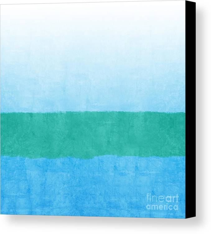 Abstract Canvas Print featuring the mixed media Sea Of Blues by Linda Woods