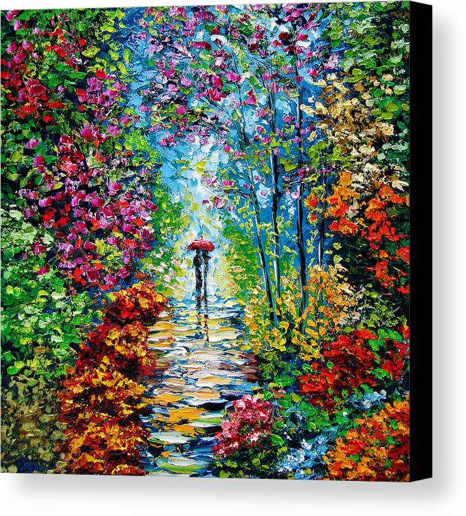 Oil Paining Canvas Print featuring the painting Secret Garden Oil Painting - B. Sasik by Beata Sasik