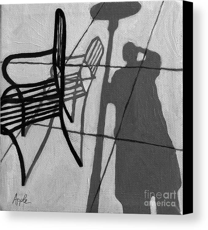 Portrait Artwork Canvas Print featuring the painting Self Portrait - Cafe Shadows Painting by Linda Apple