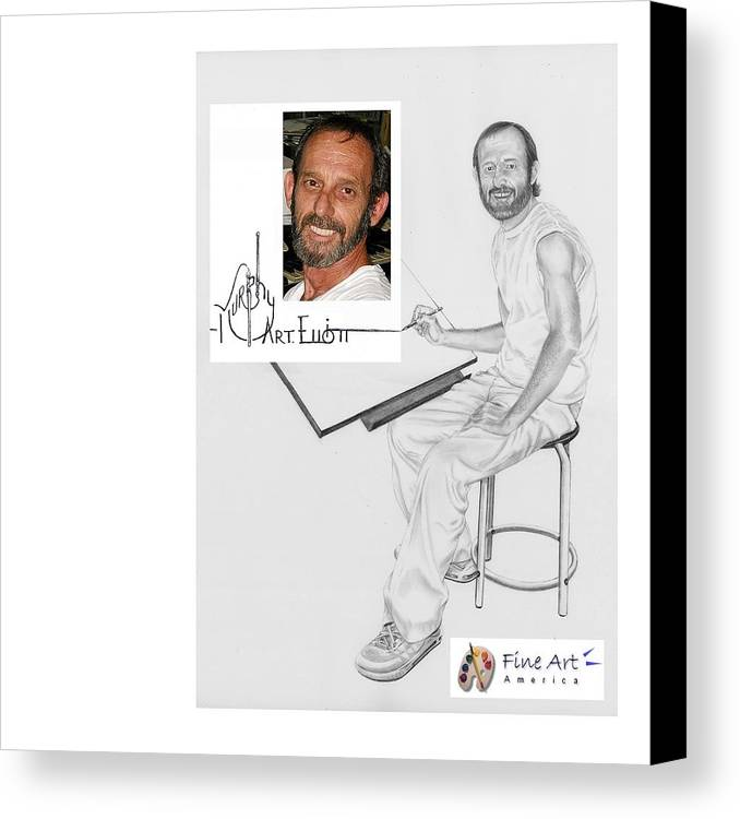 Pencil Canvas Print featuring the drawing Self Portrait by Murphy Elliott
