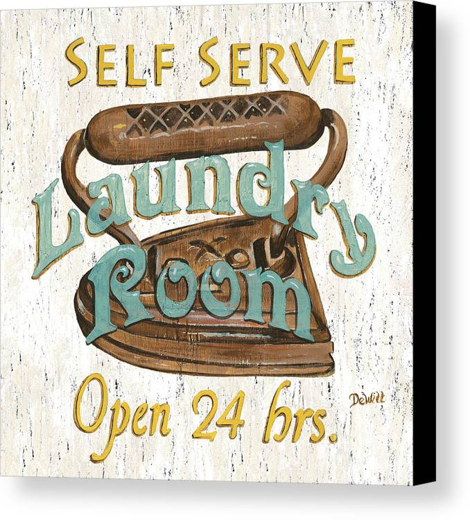 Iron Canvas Print featuring the painting Self Serve Laundry by Debbie DeWitt