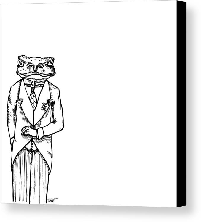 Drawing Canvas Print featuring the drawing Sir Franklin The Toad by Karl Addison