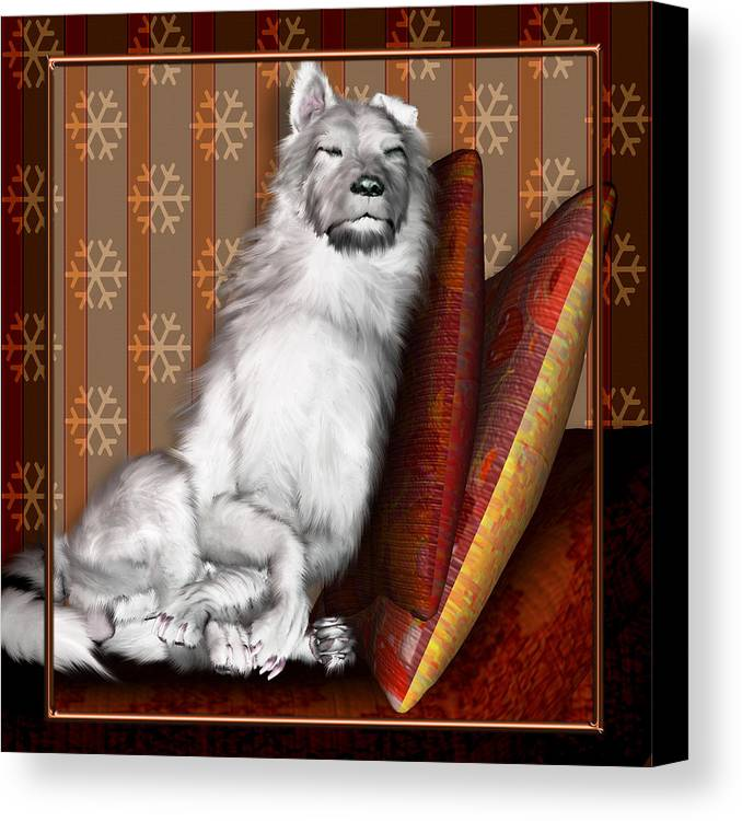 Dog Canvas Print featuring the digital art Sleeping Iv by Nik Helbig