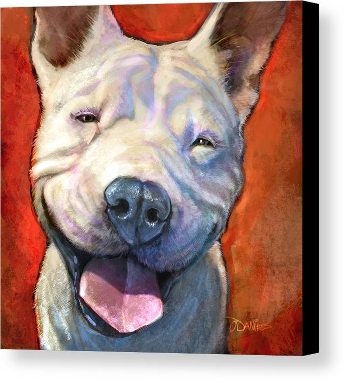 Dogs Canvas Print featuring the painting Smile by Sean ODaniels