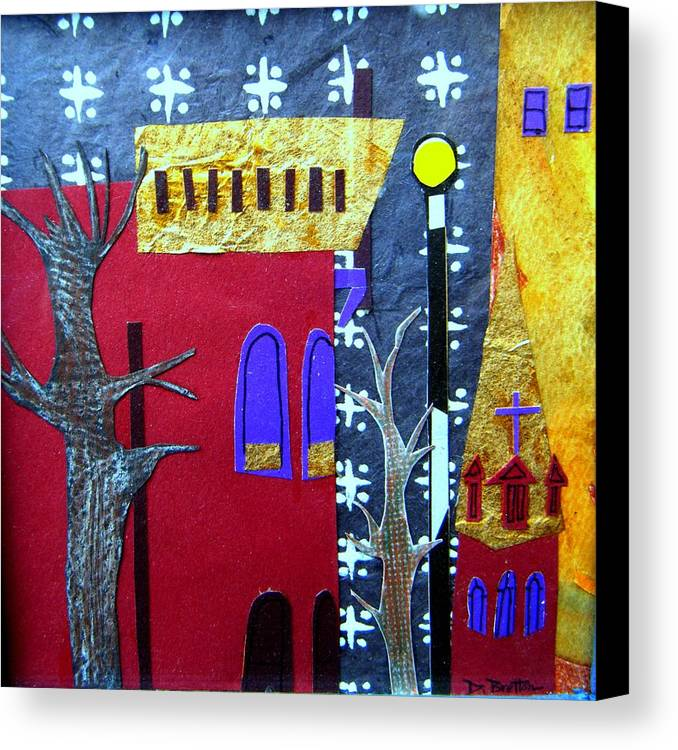City Canvas Print featuring the mixed media Snowstorm Backbay by Debra Bretton Robinson