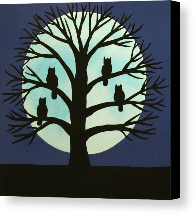 Spooky Owl Tree Canvas Print