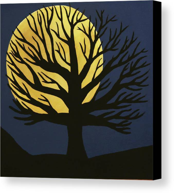 Spooky Tree Yellow Canvas Print