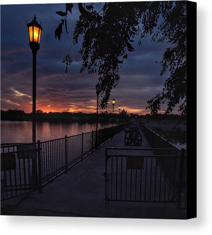 Lake Overholser Canvas Print featuring the photograph Squarely Into Sunup by Buck Buchanan