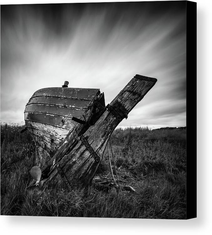Fishing Boat Canvas Print featuring the photograph St Cyrus Wreck by Dave Bowman