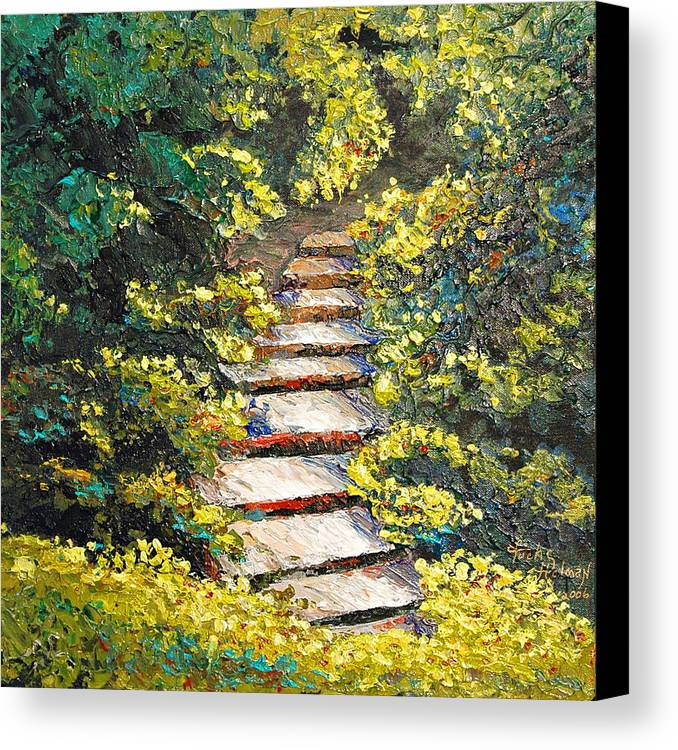Landscape Canvas Print featuring the painting Stairway To Heaven by Cathy Fuchs-Holman