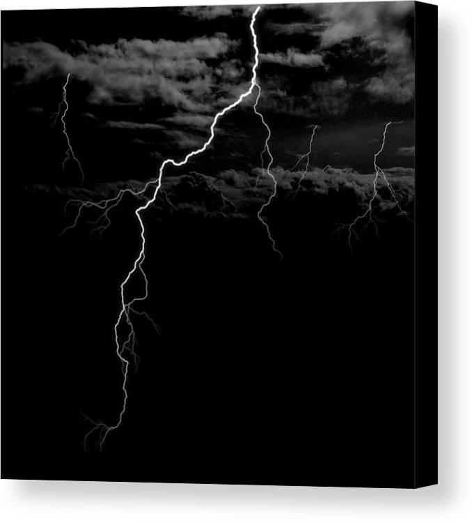 Lightning Canvas Print featuring the digital art Stormy Night by Brad Scott