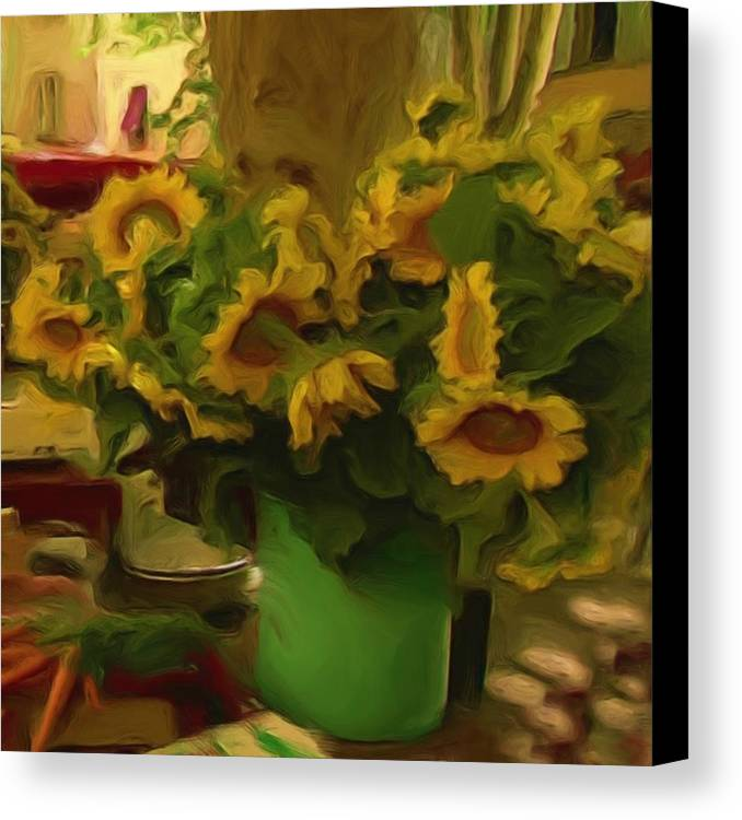 Farmers Market Canvas Print featuring the painting Sunflowers At The Market by Shelley Bain