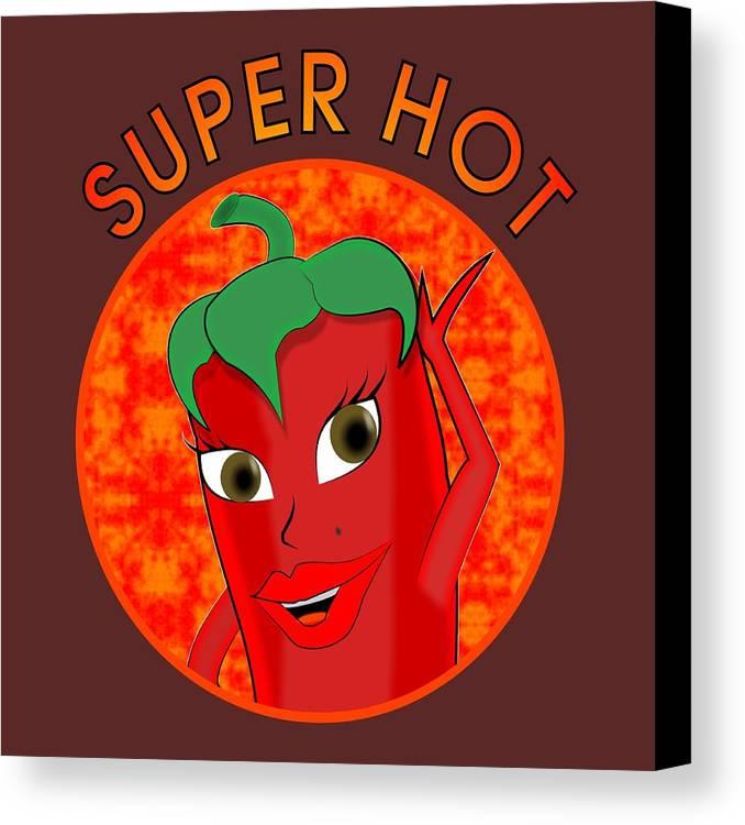 Cartoon Canvas Print featuring the digital art Super Hot Pepper Diva by Ricardo Almeida