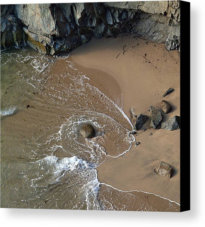 Big Sur Canvas Print featuring the photograph Swirling Surf And Rocks by Charlene Mitchell