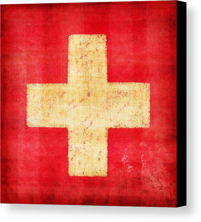 Abstract Canvas Print featuring the photograph Switzerland Flag by Setsiri Silapasuwanchai