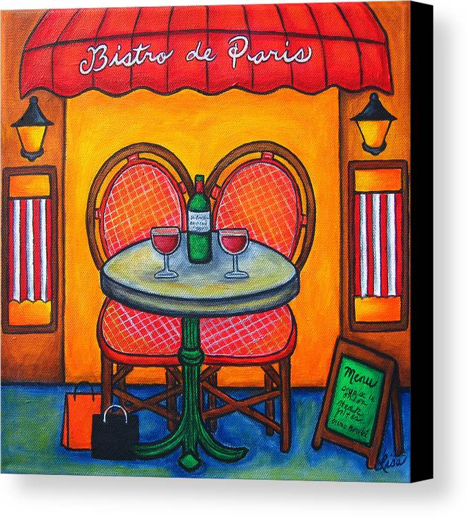 Paris Canvas Print featuring the painting Table For Two In Paris by Lisa Lorenz