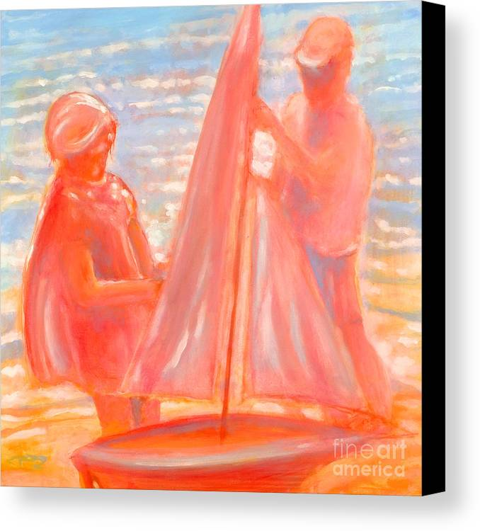 Beach Canvas Print featuring the painting Test Launch by Kip Decker