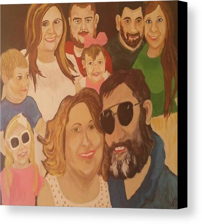 Portraits Canvas Print featuring the painting That Crazy Family by Denise Mauldin