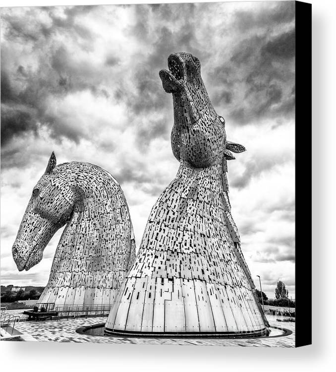 The kelpies canvas print featuring the photograph the kelpies at falkirk by janet burdon