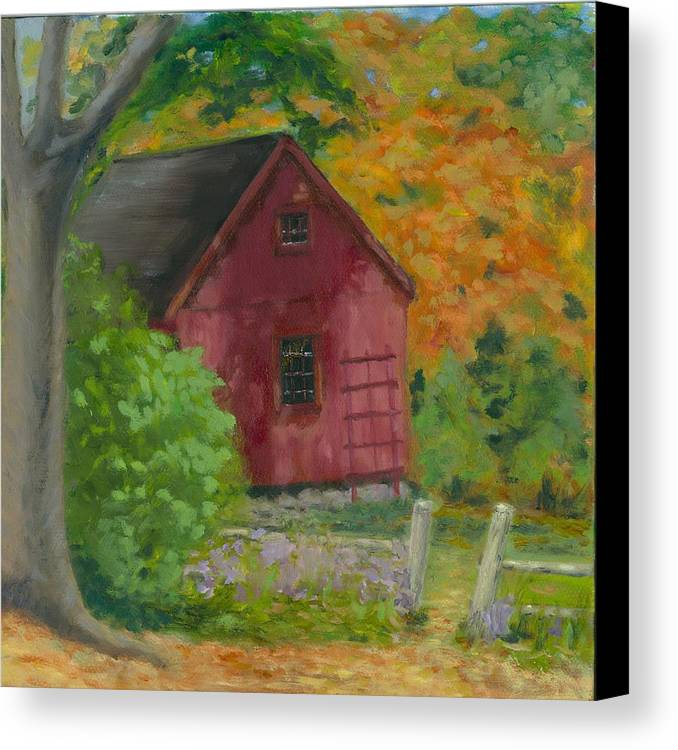 Landscape Canvas Print featuring the painting The Last Days Of Autumn by Paula Emery