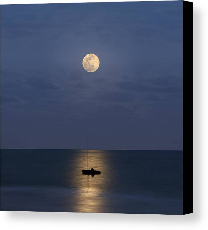 Square Canvas Print featuring the photograph The Moon Guide Us by Carlos Gotay