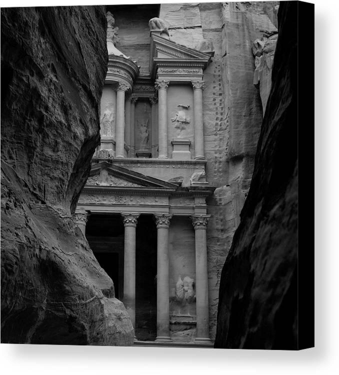 Jordan Canvas Print featuring the digital art The Treasury - Petra by Peter Dorrell