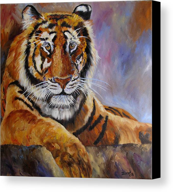 Tiger Canvas Print featuring the painting Tiger Resting by Mary Jo Zorad