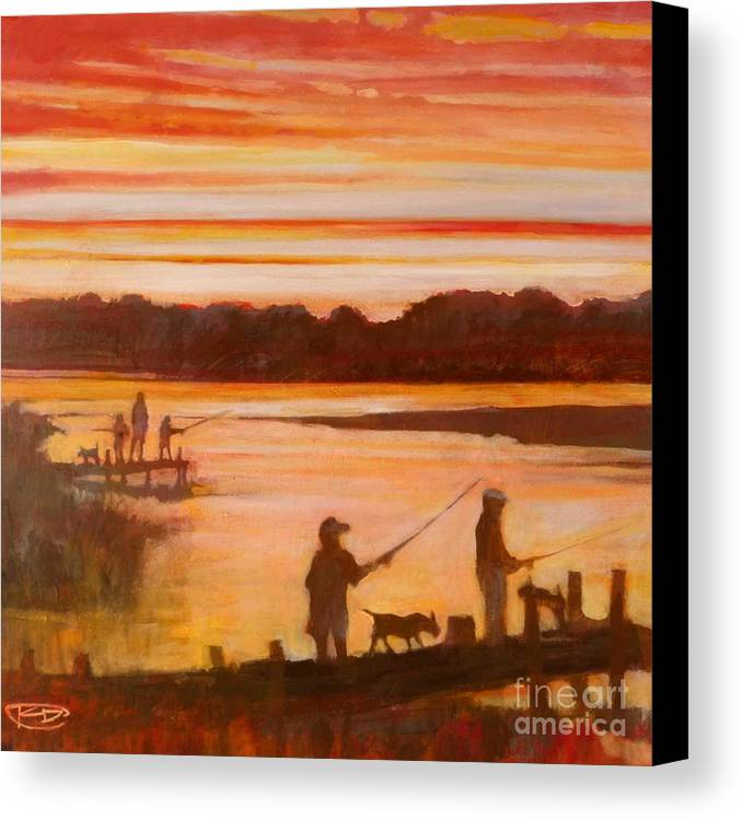 Fishing Canvas Print featuring the painting Time To Go Home by Kip Decker