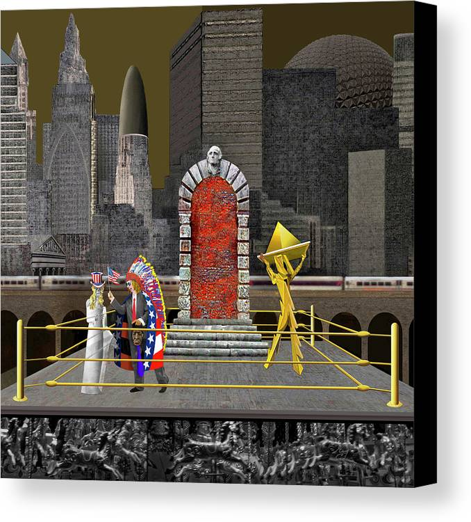America Canvas Print featuring the drawing To Whom We Serve by Guy Ciarcia