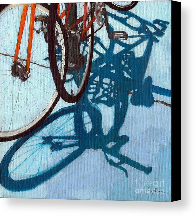 Blue Canvas Print featuring the painting Together - City Bikes by Linda Apple
