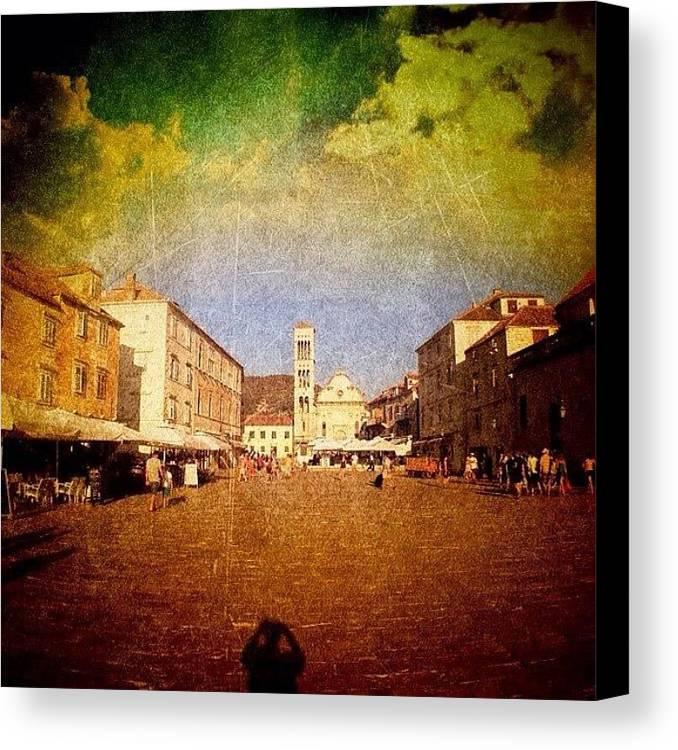 Edit Canvas Print featuring the photograph Town Square #edit - #hvar, #croatia by Alan Khalfin