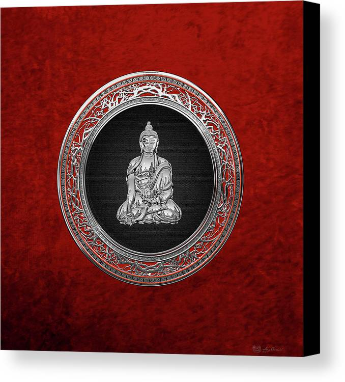 'treasure Trove' Collection By Serge Averbukh Canvas Print featuring the digital art Treasure Trove - Silver Buddha On Red Velvet by Serge Averbukh