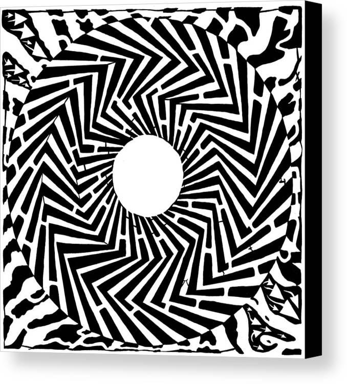 Swirly Canvas Print featuring the drawing Trippy Optical Illusion Swirly Maze by Yonatan Frimer Maze Artist