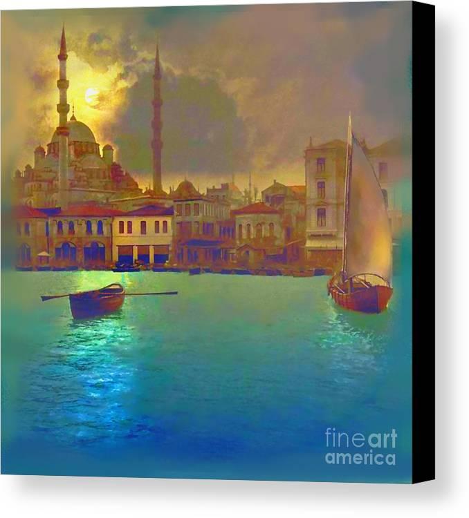Turkey Canvas Print featuring the painting Turkish Moonlight by Saiyyidah Seema Z