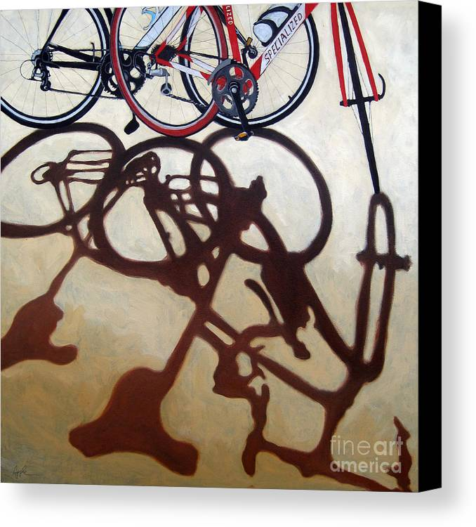 Two Bicycles Canvas Print featuring the painting Two Bicycles by Linda Apple