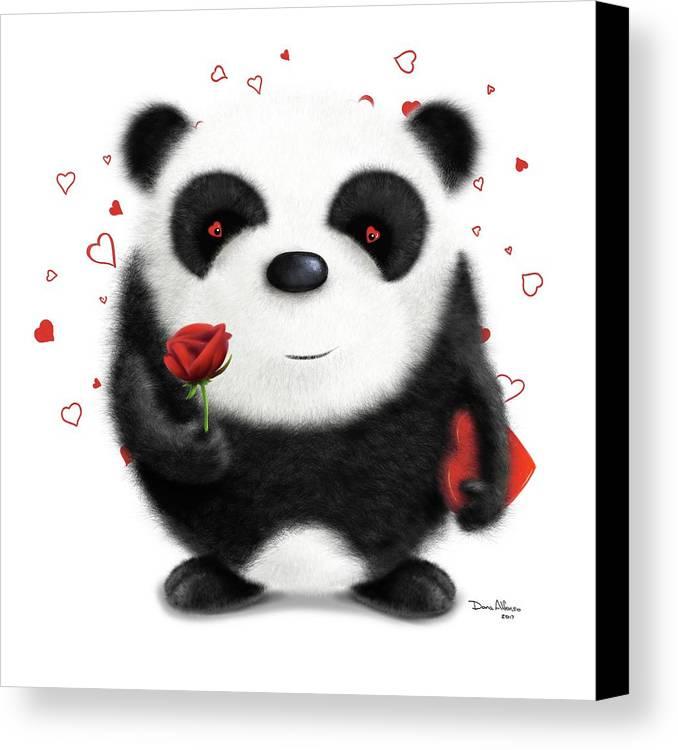 Panda Canvas Print featuring the digital art Valentine's Panda by Dana Alfonso