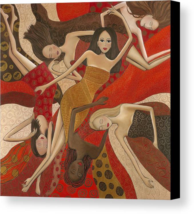 Female Canvas Print featuring the painting Vermilion Dream by Denise Daffara