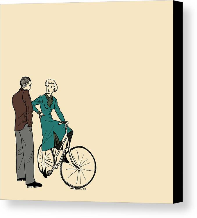 Bike Canvas Print featuring the drawing Vintage Bike Couple by Karl Addison