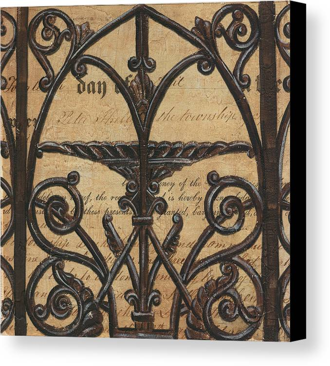 Iron Canvas Print featuring the painting Vintage Iron Scroll Gate 1 by Debbie DeWitt
