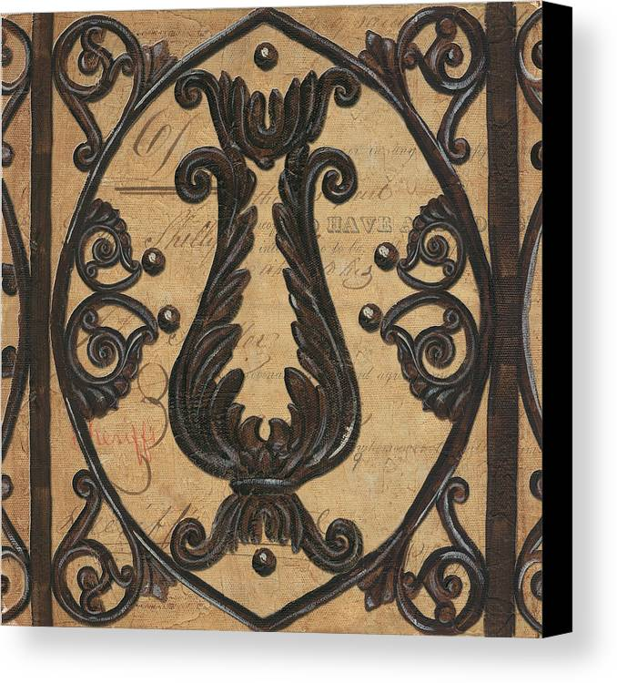 Iron Canvas Print featuring the painting Vintage Iron Scroll Gate 2 by Debbie DeWitt