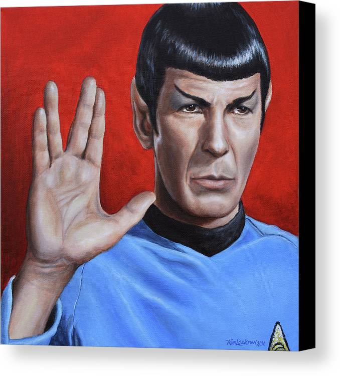 Leonard Nimoy Canvas Print featuring the painting Vulcan Farewell by Kim Lockman