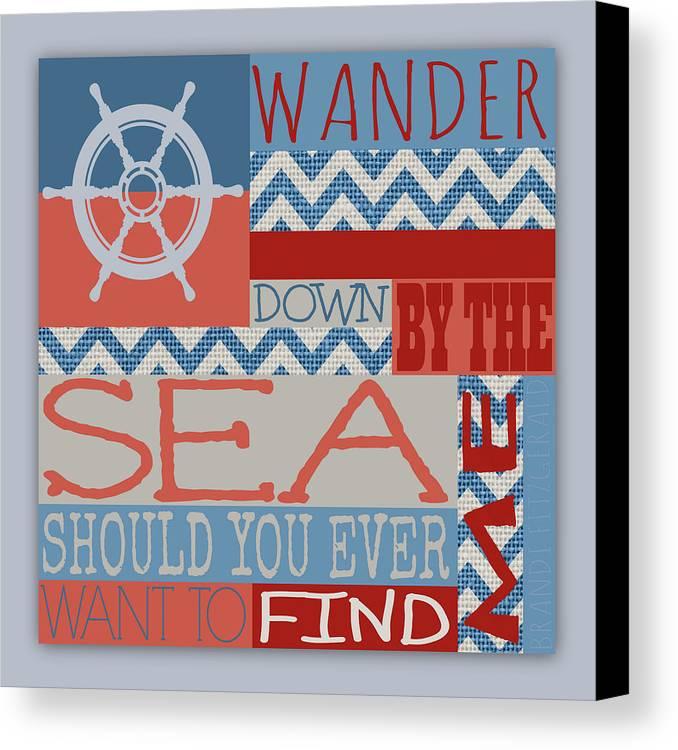 Brandi Fitzgerald Canvas Print featuring the digital art Wander Down By The Sea by Brandi Fitzgerald