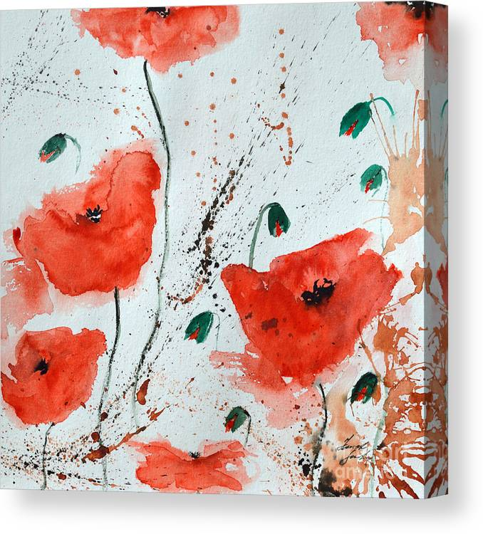 Poppies Canvas Print featuring the painting Red Poppies by Ismeta Gruenwald