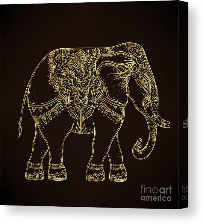 Symbol Canvas Print featuring the digital art Beautiful Hand-drawn Tribal Style by Gorbash Varvara