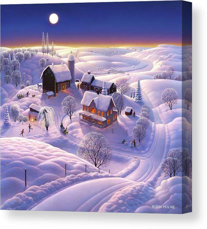 Winter Canvas Print featuring the painting Winter On The Farm by Robin Moline