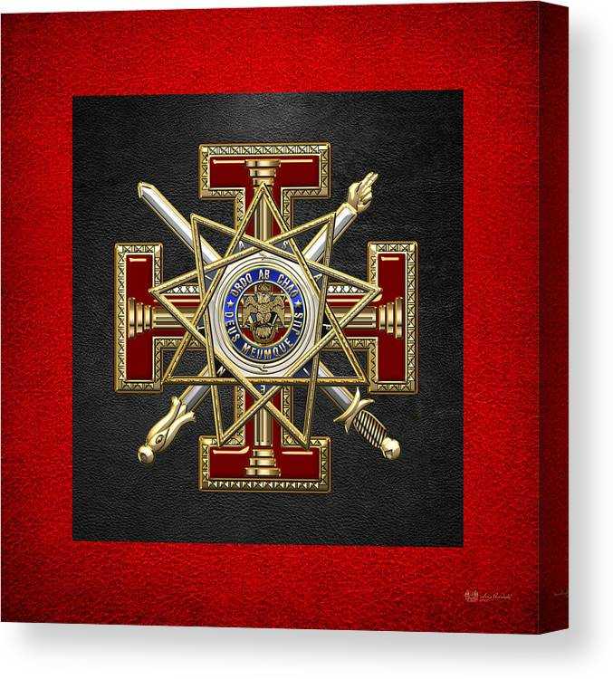 'ancient Brotherhoods' Collection By Serge Averbukh Canvas Print featuring the digital art 33rd Degree Mason - Inspector General Masonic Jewel by Serge Averbukh